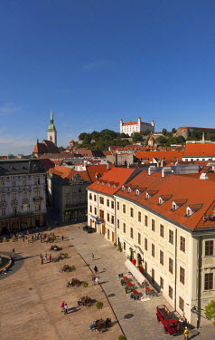 IBLDOB03771044 View over the Hlavne namestie main square, behind Bratislava Castle, Bratislava, Slovakia