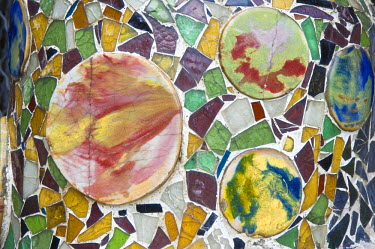 IBLGAB01119878 Casa Batllo, Unesco World Heritage Site, mosaics, Antonio Gaudi architect, Eixample District, Barcelona, Catalonia, Spain