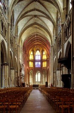 IBLMAN01530516 Interior view of the Cathedrale Saint-Cyr-et-Sainte-Julitte de Nevers cathedral, Nevers, Nievre, Burgundy, France