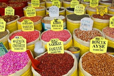 IBLMAN03055283 Various beans in bags, Egyptian Bazaar, or Spice Bazaar, Misir Carsisi, Eminonu, Istanbulan side, Istanbul Province, Turkeyan side
