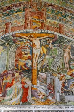 IBLMAN03658619 Lebendes Kreuz frescoes, 1470 - 1475, by Thomas von Villach, in the parish church of St. Andreas, Thorl-Maglern, Villach-Land District, Carinthia, Austria