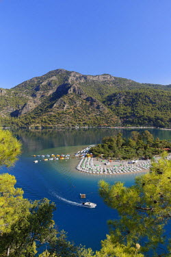 IBLMAN03795137 Beach and lagoon of Oludeniz, Fethiye, Mugla Province, Lycia, Aegean, Turkey