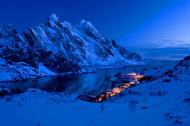 IBLOMK01879958 Village of Maervoll or Maervoll with Mt Himmeltindan at dusk, 964m, Island of Vestvagoya, Lofoten Islands, Northern Norway, Norway