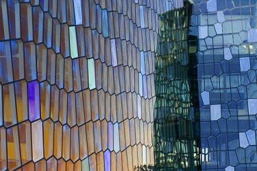 IBLOMK01984978 Honeycomb windows, facade of the Harpa concert hall, new landmark of Reykjavik, Iceland