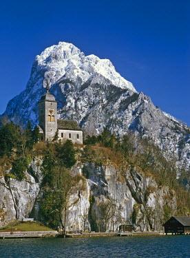 IBXCGH00103055 Church of Traunkirchen in front of mountain Traunstein, Upper Austria, Austria