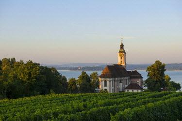 IBXDJS04257103 Church in the vineyards, pilgrimage church and monastery Birnau, Unteruhldingen, Lake Constance, Baden-Wurttemberg, Germany
