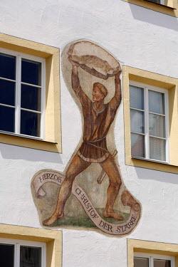 IBXMAN00914206 Fresco of Duke Christof the Great on Schongau Castle, Pfaffenwinkel, Upper Bavaria, Bavaria, Germany