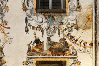 IBXMAN01722314 Wall paintings and sundial on the rear facade of the Hirschenhaus building, Berchtesgaden, Berchtesgadener Land, Upper Bavaria, Bavaria, Germany