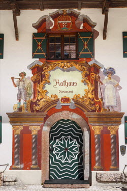 IBXMAN02282678 Town Hall, Ruhpolding, Chiemgau region, Upper Bavaria, Bavaria, Germany