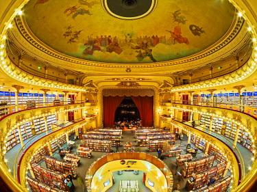 ARG2140AW Argentina, Buenos Aires, Santa Fe Avenue, Interior view of El Ateneo Grand Splendid Bookshop.