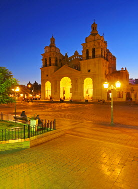 ARG2183AW Argentina, Cordoba, Twilight view of the Cathedral of Cordoba.