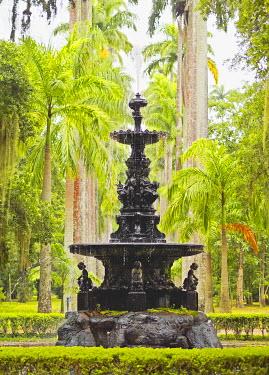 BRA3067AW Brazil, City of Rio de Janeiro, Fountain of the Muses in the Botanical Garden of Rio de Janeiro.