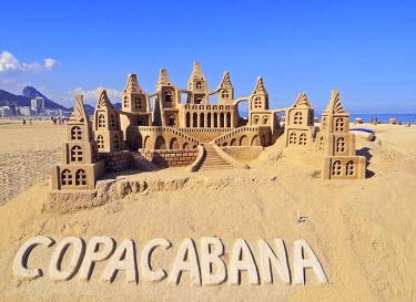 BRA3217AW Brazil, City of Rio de Janeiro, Sand Castle at Copacabana.