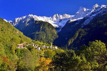 IBXDAB03916186 The village of Soglio in Val Bregaglia, behind the Sciora group, Bergell, Graubunden, Switzerland