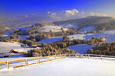 IBXDAB03919074 Appenzeller winter landscape in evening light with view on the Santis, Appenzell, Switzerland