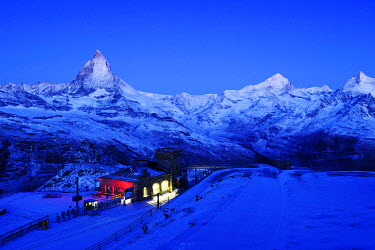 IBXSHU01320655 Gornergrad Mountain Station with the Matterhorn, Zermatt, Valais, Switzerland