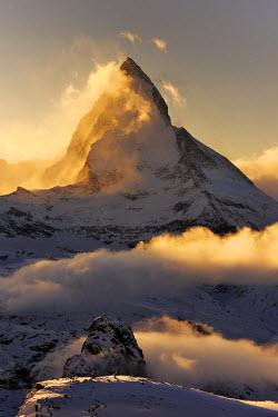 IBXSHU01445813 Mt Matterhorn in the light of the setting sun, Zermatt, Valais, Switzerland