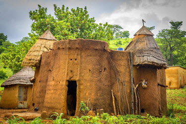 TOG0002AW Africa, Togo, Koutammakou area. A village of the Batammariba people built in the traditional tata somba style
