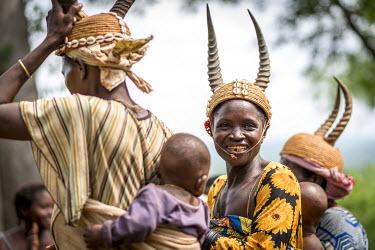 TOG0014AW Africa, Togo, Koutammakou. Woman dancer with horned helmet