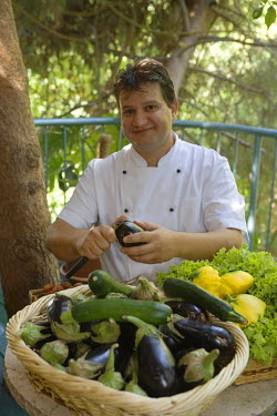 HMS0233705 Israel, Northern District, Galilee, Rosh Pina, Safed, Chaim Tibi Muscat chef of the restaurant of the hotel restaurant Mizpe Hayamim back of the farm area with vegetables, hotel created by Dr. Yaros Y...