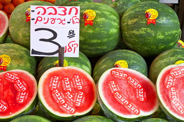 HMS0606143 Israel, Tel Aviv, Carmel Market, local watermelon (Citrullus lanatus) stand