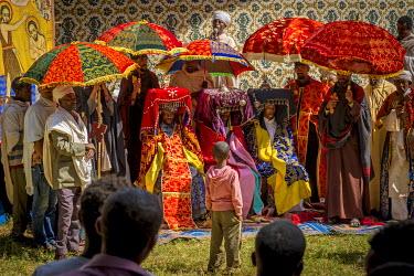 ETH3051AW Africa, Ethiopia, Tana Lake. Celebrating the Timkat holiday.