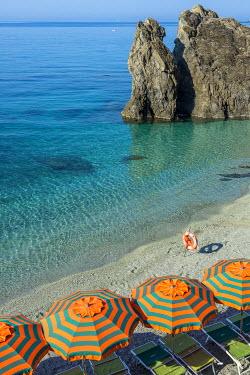 ITA9006AW Europe, Italy, Liguria. Beach in Monterosso, Cinque Terre.