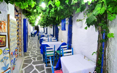 IBXGZS00898019 Tavern with wooden tables, Naxos City, Cyclades, Greece