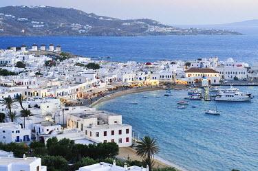 IBXGZS00898749 Old port, blue sea and windmills on Mykonos, Cyclades, Greece