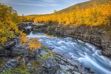 IBXROH04238455 Autumnal Abisko canyon, Abiskojokk river, Abiskojokk, Abisko National Park, Norrbotten, Lapland, Sweden