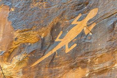 IBXHAN04071338 Petroglyphs on a rock wall at Cub Creek, Josie Ranch Road, Dinosaur National Monument, Jensen, Utah, USA, North America