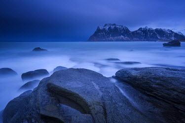 IBXROH04115351 Rocks on the beach of Uttakleiv, Lofoten, Norway