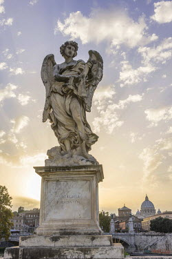 IBXHAN04175704 Statue, angel sculpture on the Ponte Sant'Angelo, Rome, Lazio, Italy