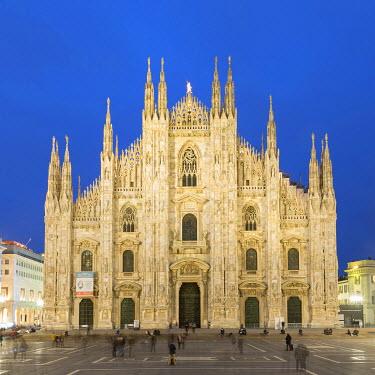 IBXMRA04337544 Milan Cathedral at dusk, front view, Piazza del Duomo, Milan, Italy