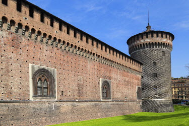 IBXMRA04337558 Defence tower and outer walls of Sforza Castle, Piazza Castello, Milan, Italy