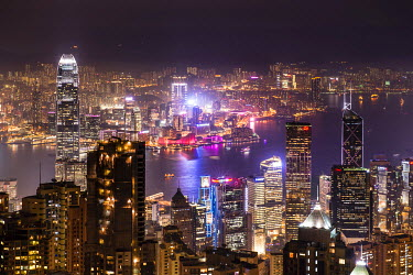 Panoramic view from Victoria Peak across the high-rise buildings at night, Central District, Hong Kong, China
