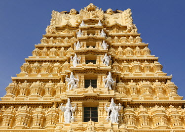 Gopuram of Sri Chamundeshwari Temple, Chamundi Hill, Mysore, Karnataka, South India, India, South Asia