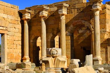 IBXGUF00221855 Head of Medusa, Severan Forum, Ruins of the Roman City Leptis Magna, Libya, Africa