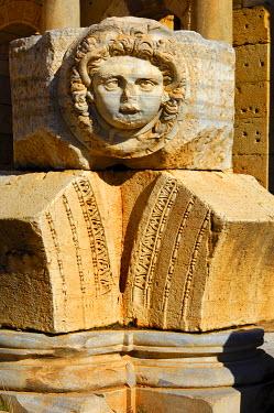 IBXGUF00221856 Head of Medusa, Severan Forum, Ruins of the Roman City Leptis Magna, Libya, Africa