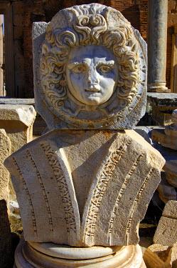 IBXGUF00221860 Head of Medusa, Severan Forum, Ruins of the Roman City Leptis Magna, Libya, Africa