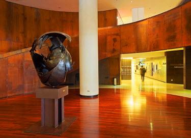 CHI10369AW Chile, Santiago, Interior view of the Centro Cultural Gabriela Mistral. Sculpture Tercer Mundo(Third World) by Sergio Castillo.