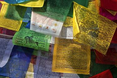 IBXHAL04059720 Prayer flags at Boudhanath Stupa, Boudhanath, UNESC World Heritage Site, Kathmandu, Nepal