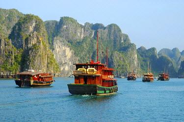 IBXGUF00100963 Fleet of junk boats At Halong Bay Viet Nam