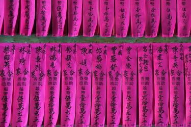 IBXGZS01174312 Prayer papers in the Temple Chua Thien Hau Pagoda, Ho Chi Minh City, Saigon, Vietnam, Southeast Asia
