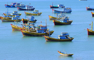 IBXGZS01231791 Fishing boats in the harbour, sea near Mui Ne, Vietnam