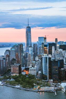 USA11576AW Aerial of lower Manhattan skyline at sunset, New York, USA