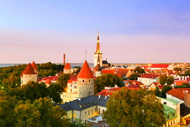 EST1173AW Old Town view from Toompea Hill, a Unesco World Heritage Site. Tallinn, Estonia