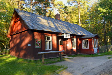 EST1199AW Drugstore from an old village. Estonian Open Air Museum, Rocca al Mare. Tallinn, Estonia