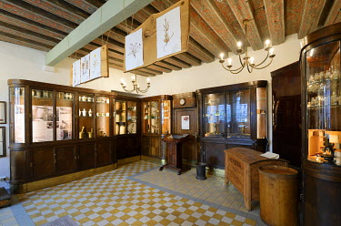 EST1206AW Interior of the Raeapteek, one of the oldest continuously running pharmacies in Europe, having always been in business in the same house since 1422. Old Town, a Unesco World Heritage Site. Tallinn, Es...