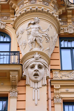 LAT1201AW Art Nouveau architecture (Jugendstil architecture) by Mikhail Eisenstein. A Unesco World Heritage Site. Riga, Latvia